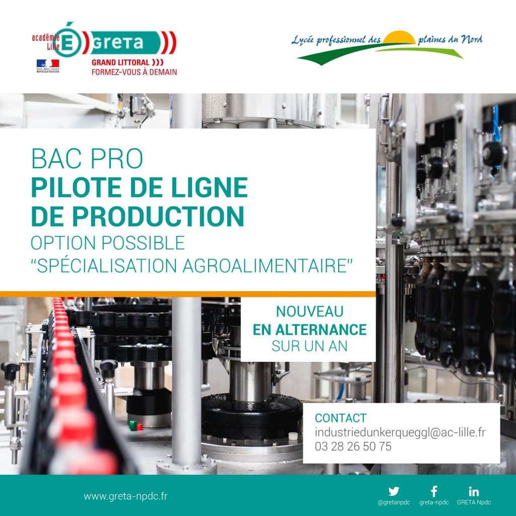 Bac pro Pilote de ligne de production au GRETA Grand Littoral