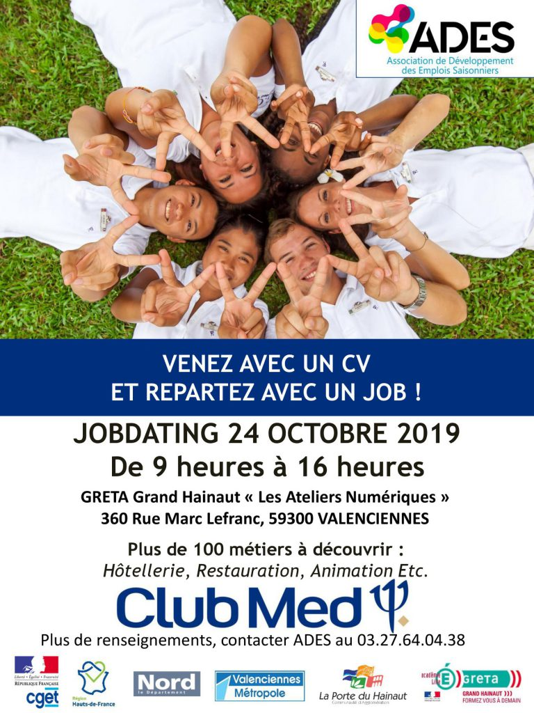 Affiche du club dating Club Med avec le GRETA Grand Hainaut